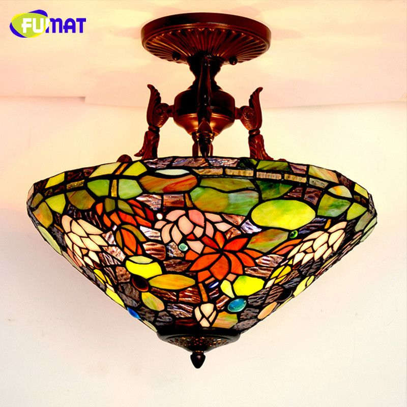 Fumat Gl Art Ceiling Lamp European Style Vintage Led Lotus Stained Clic Light Fixtures Living