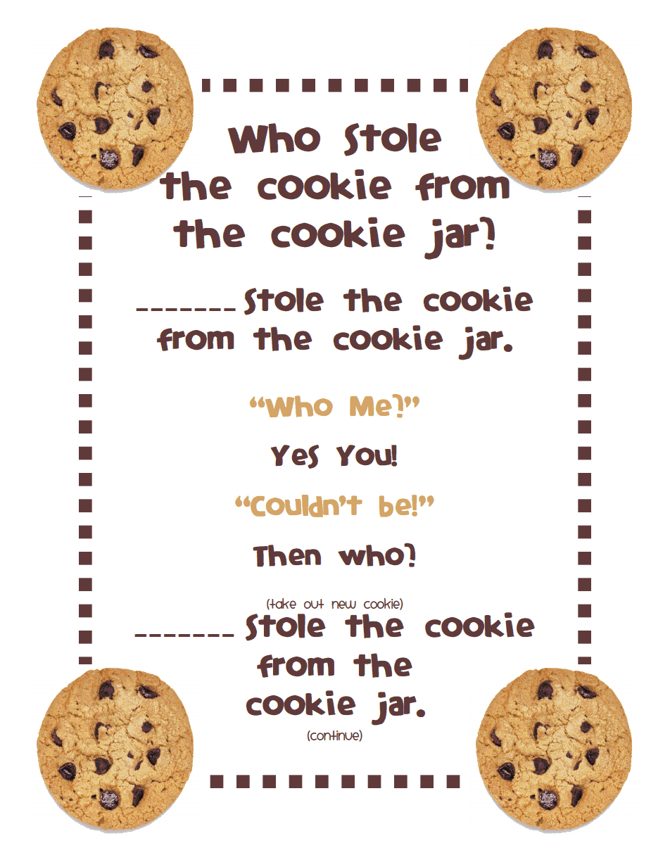Who Stole The Cookie From The Cookie Jar Lyrics Fascinating Who Stole The Cookie From The Cookie Jar Poempdf  Activities Inspiration