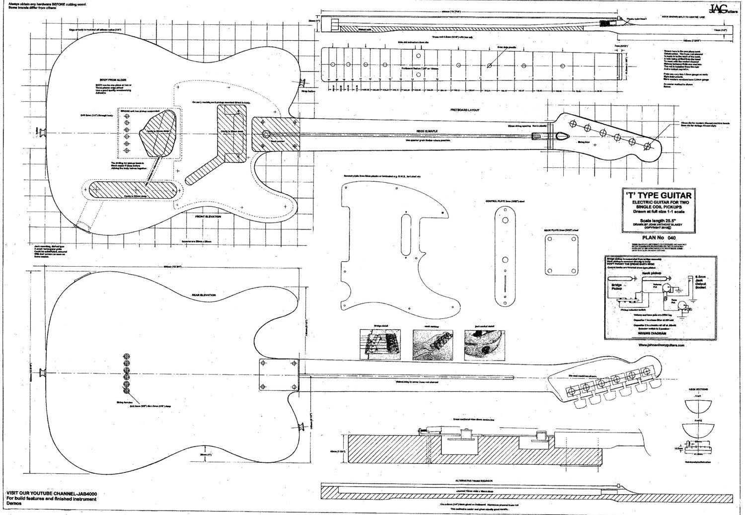 605281741 ROLLED Plan to build Telecaster electric Guitar /DIY project or ...