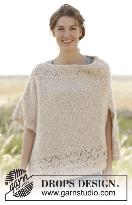 K.So Classy! free thanks to DROPS Design poncho/cape in seed st w ...