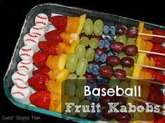 healthier after baseball game snack - fruit kabobs with a marshmallow baseball