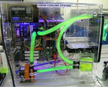 Green Clear Computer Pc Tower Liquid Cooled Setup Case Custom Pc