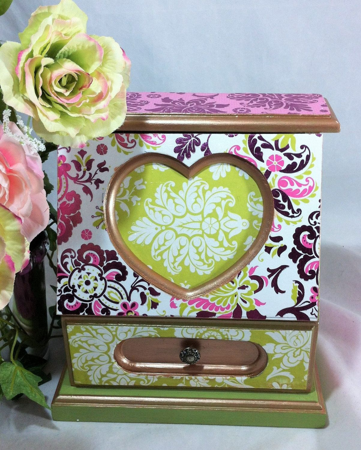 Pink Heart Jewelry Box Girls Musical Jewelry Box Metallic Pink