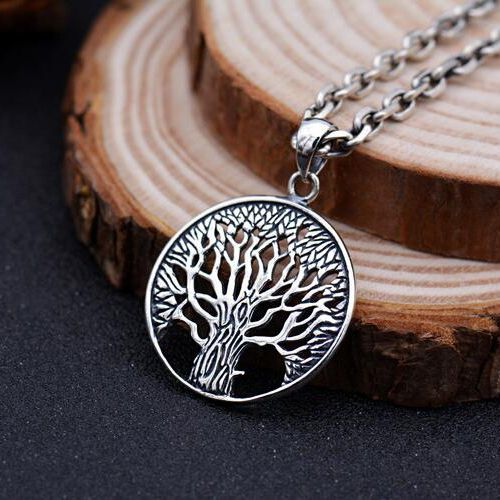 """Men's Sterling Silver Tree of Life Pendant Necklace with Sterling Silver Anchor Link Chain 18""""-28"""""""