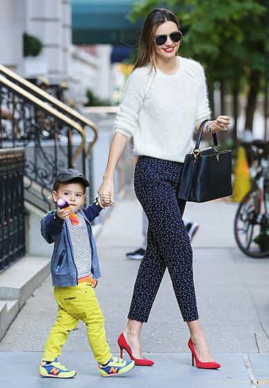 Miranda Kerr was photographed with her fashionable young son Flynn Bloom in Soho, New York.