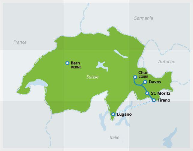 Carte de l'itinéraire du Bernina Express