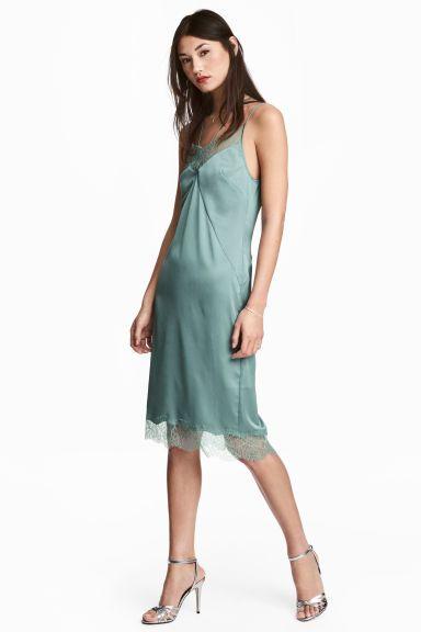 e7e0850fdea Атласное платье-комбинация - Приглушенный зеленый - Женщины
