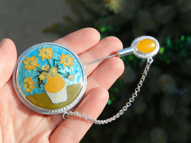 Enamel Pendant Cloisonne Enamel Necklace Flower Handmade Unique Birthday Gift