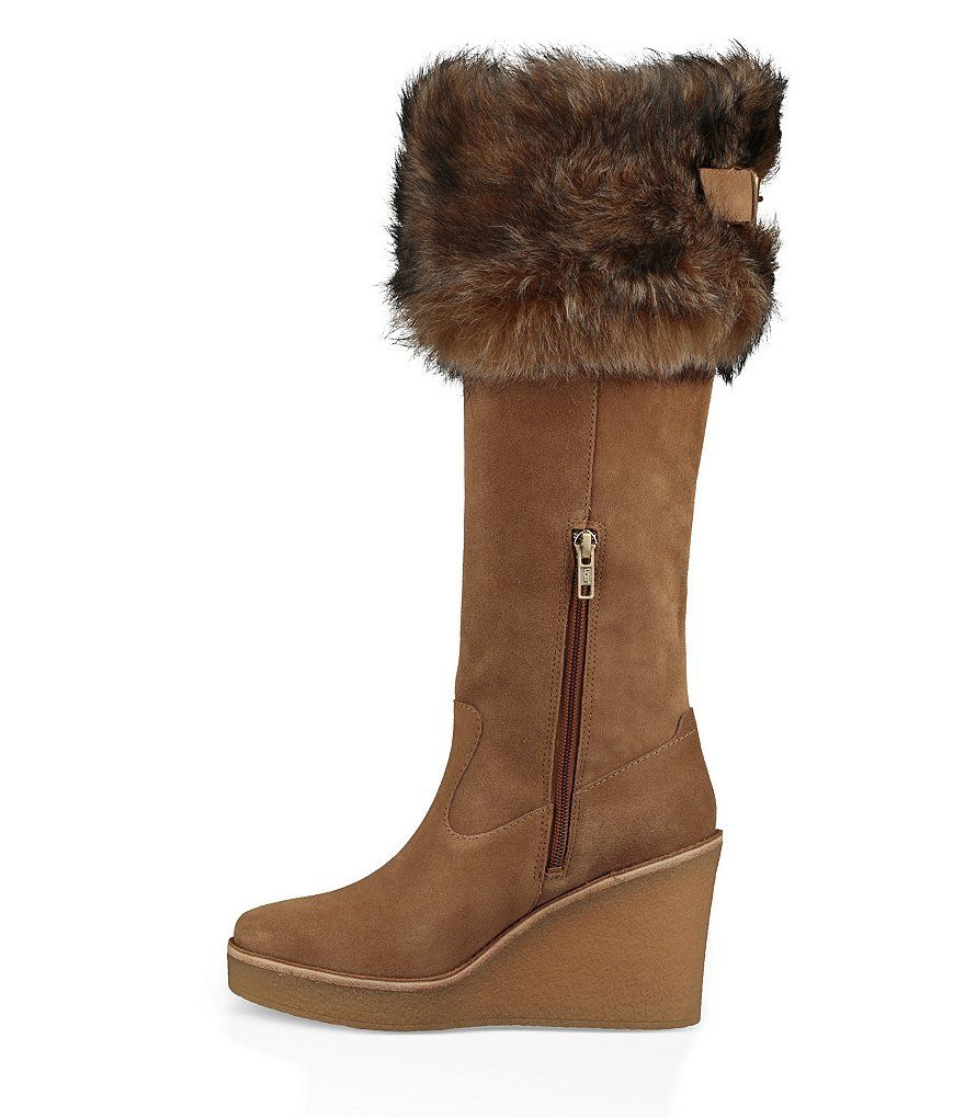 Type 1 Fur Wedge Suede Cuff Chestnut Riding My Boots ugg