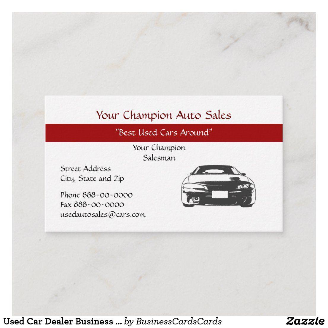 Used Car Dealer Business Card Zazzle Com Used Car Dealer Car Dealer Illustration Business Cards