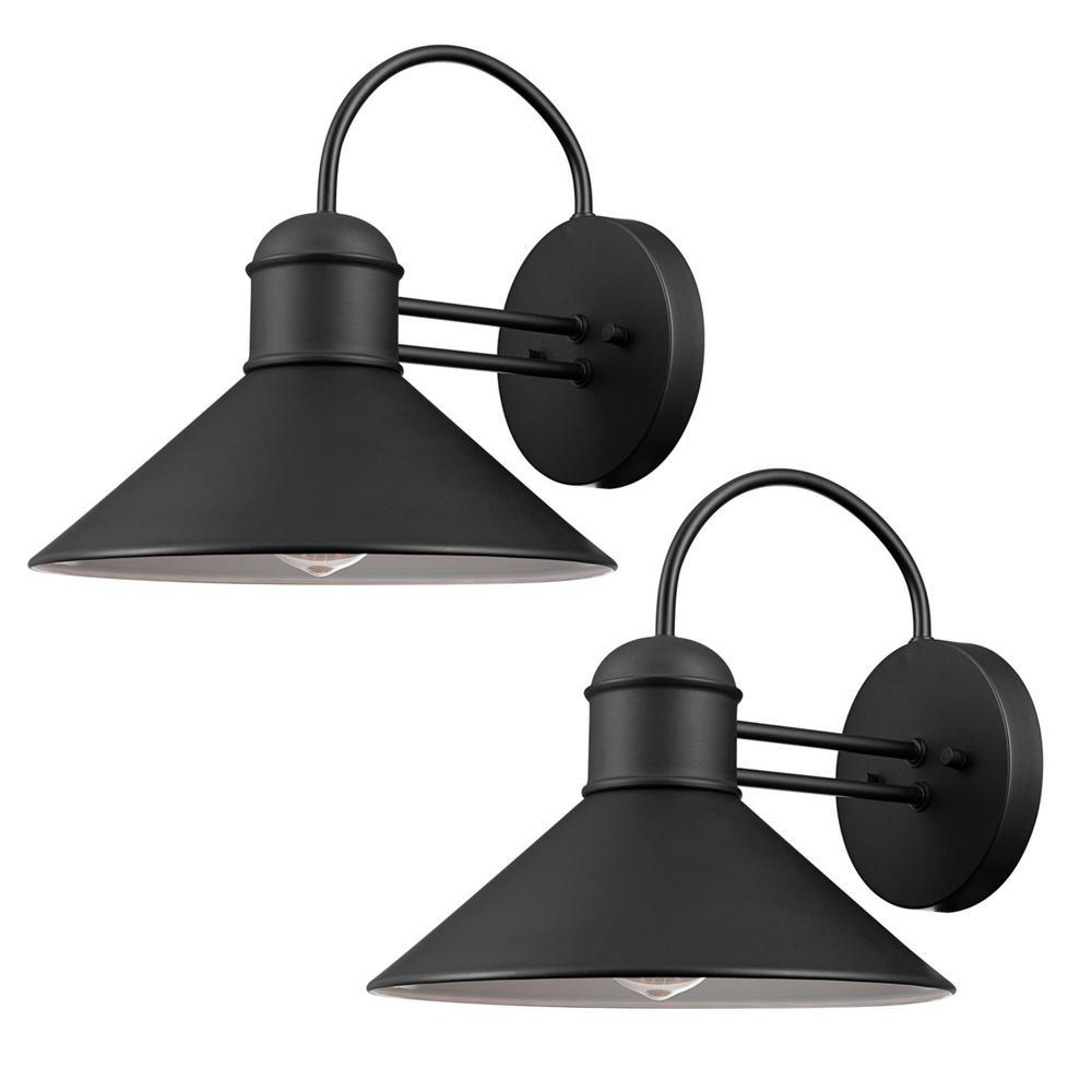 Globe electric sebastien light black outdoor wall sconce pack