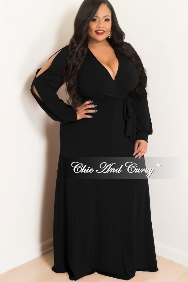aa352f246100f Final Sale Plus Size Faux Wrap Dress with Slit Sleeves in Black in ...