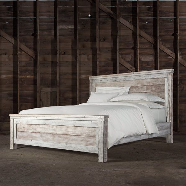 This rustic farm bed is handcrafted from reclaimed ...