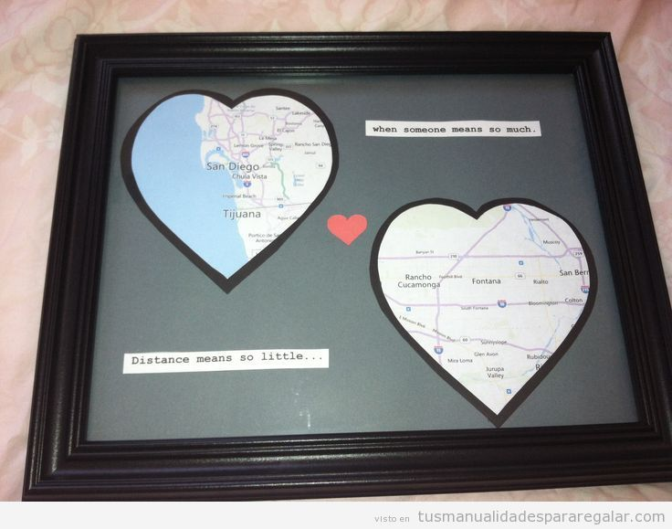 Manualidades para regalar a chicos mapa con corazones - Manualidades para chicos ...