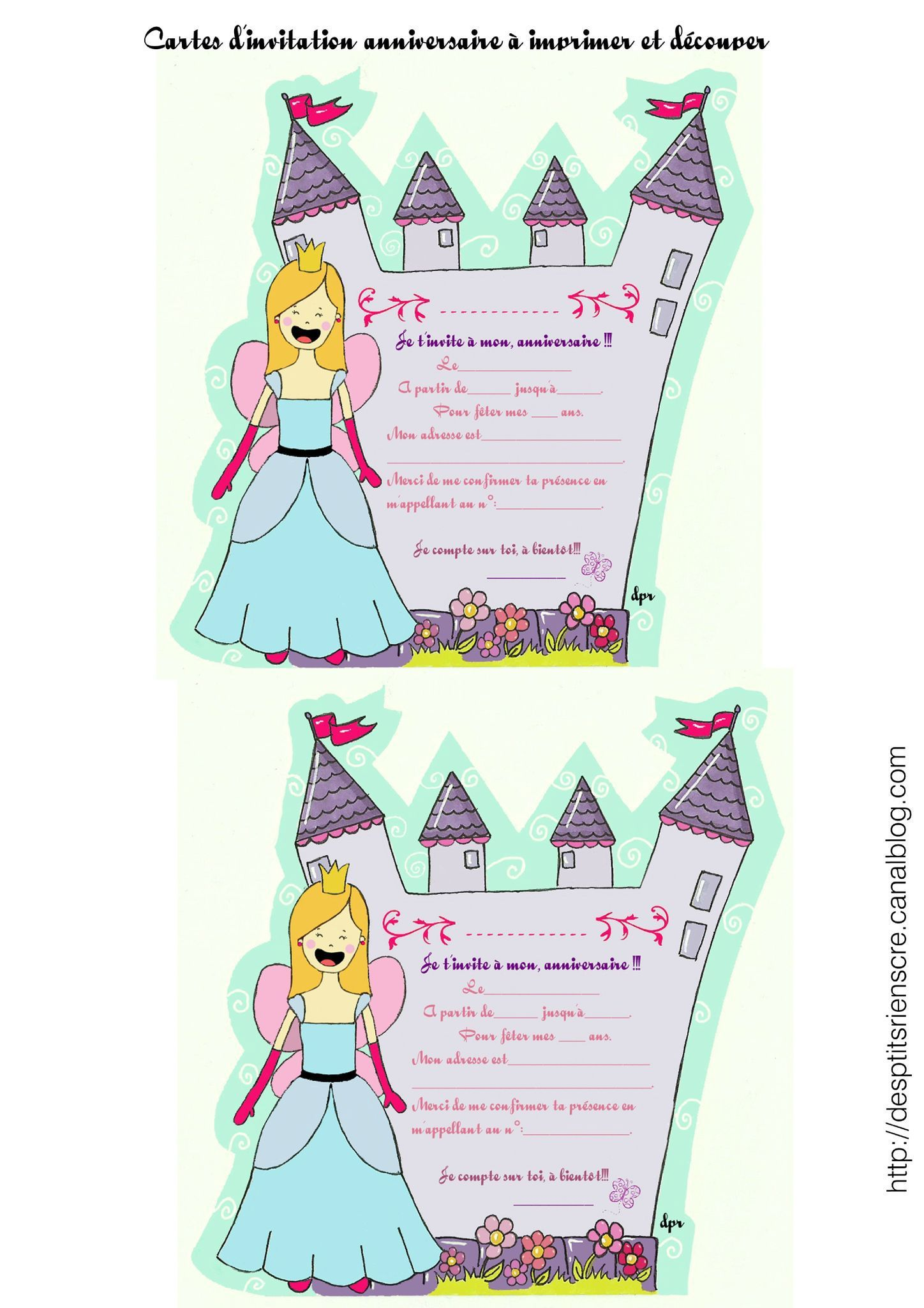 carte invitation anniversaire fille 6 ans gratuite  imprimer Plus