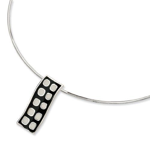 Shop4Silver Stainless Steel Brushed Wing With Leather Moon Necklace