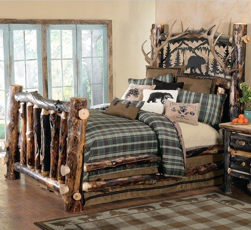 Warm and inviting rustic log beds | Rustic bedroom ...