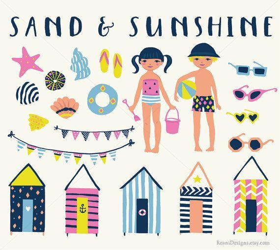 Beach ClipArt- Clip art SummerParty Beach Huts Seaside ...