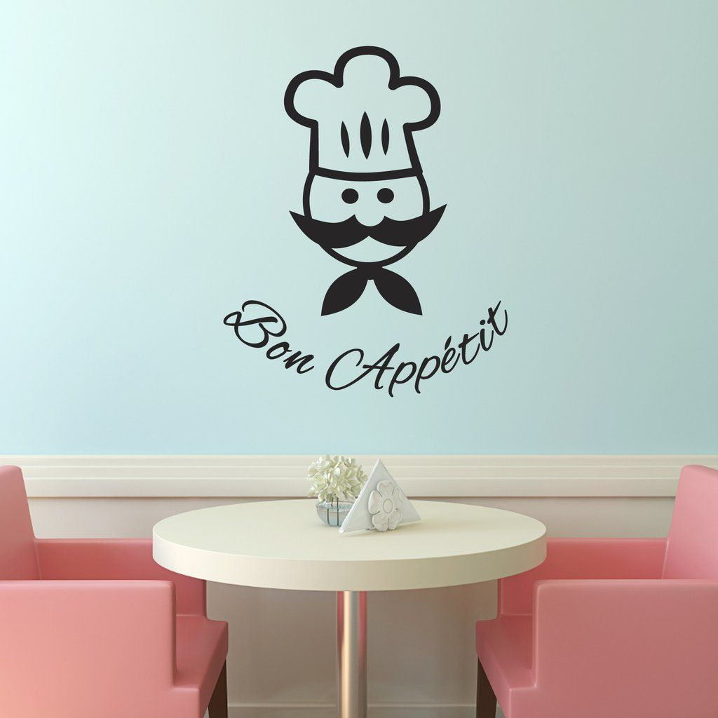 Our Bon Appetit kitchen wall sticker features a cartoon chef. A fun ...