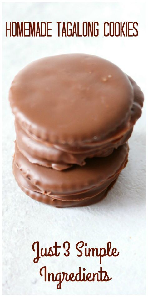 Homemade Tagalong Cookies: 3 simple ingredients come together to create a taste the replicates the famous cookie.