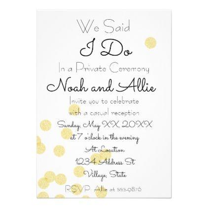 Private Ceremony Reception Invitation - wedding invitations diy - ceremony invitation template