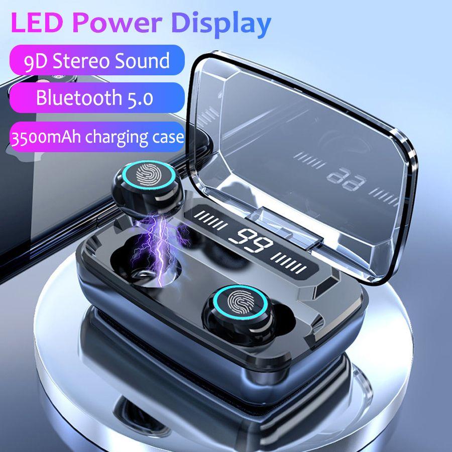3500mah Led Bluetooth Wireless Earphones Headphones Earbuds Tws Touch Control Spor In 2020 Bluetooth Wireless Earphones Bluetooth Headphones Wireless Earbud Headphones