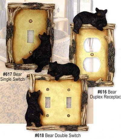 Bear Decor Accessories Switchplate Outlet Covers Black Switch