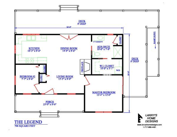 798 Sq Ft Wheelchair Accessible Small House Plans Small House Plans House Floor Plans Home Addition Plans