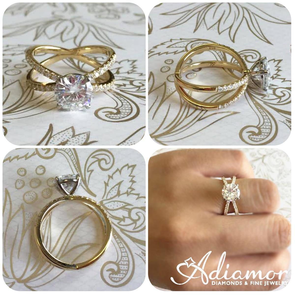 Diamond Criss Cross Engagement Ring Setting Band