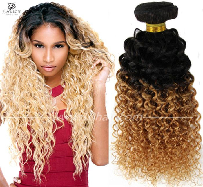 T1b27 Brazilian Curly Ombre Hair Extension Two Tone Human Hair