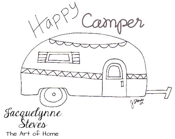 New Free Embroidery Pattern- Happy Camper! (Jacquelynne