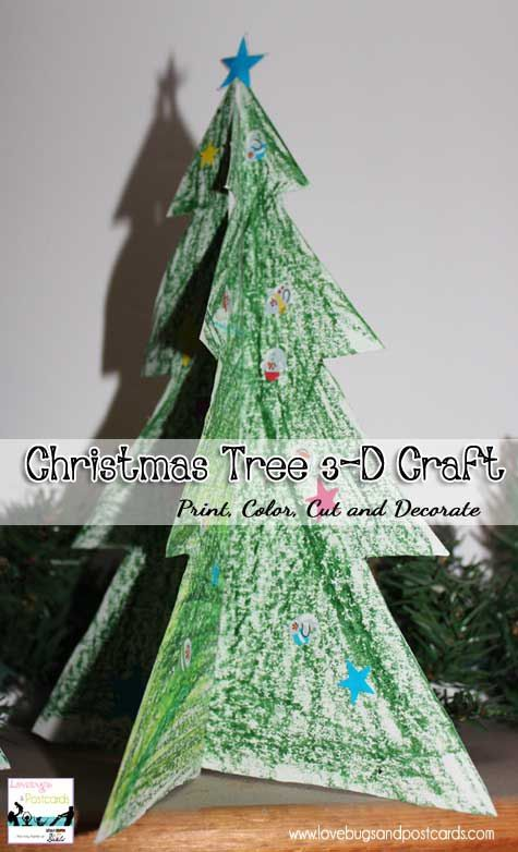 printable coloring page christmas tree 3 d craft - Coloring Pages Of Christmas Trees 3