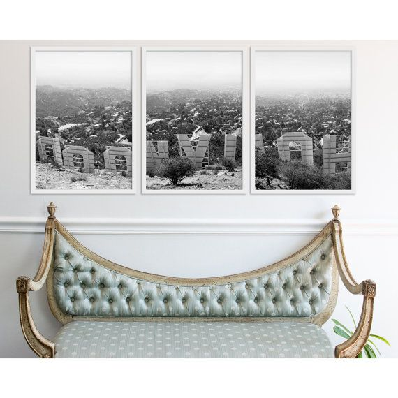 Large Wall Art, Hollywood Decor, Triptych, Black and White ...
