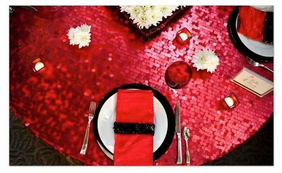 Red Sequin Table Cloth, Red Sequin Table Runner