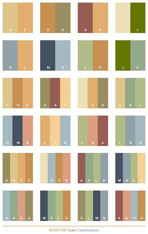 Beige Tone Color Schemes, Color Combinations, Color Palettes For Print  (CMYK) And Web (RGB + HTML)