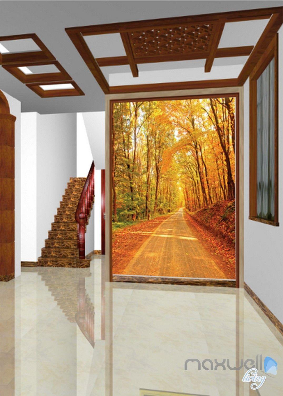 3D Autumn Forest Lane Corridor Entrance Wall Mural Decals Art Prints Wallpaper 032