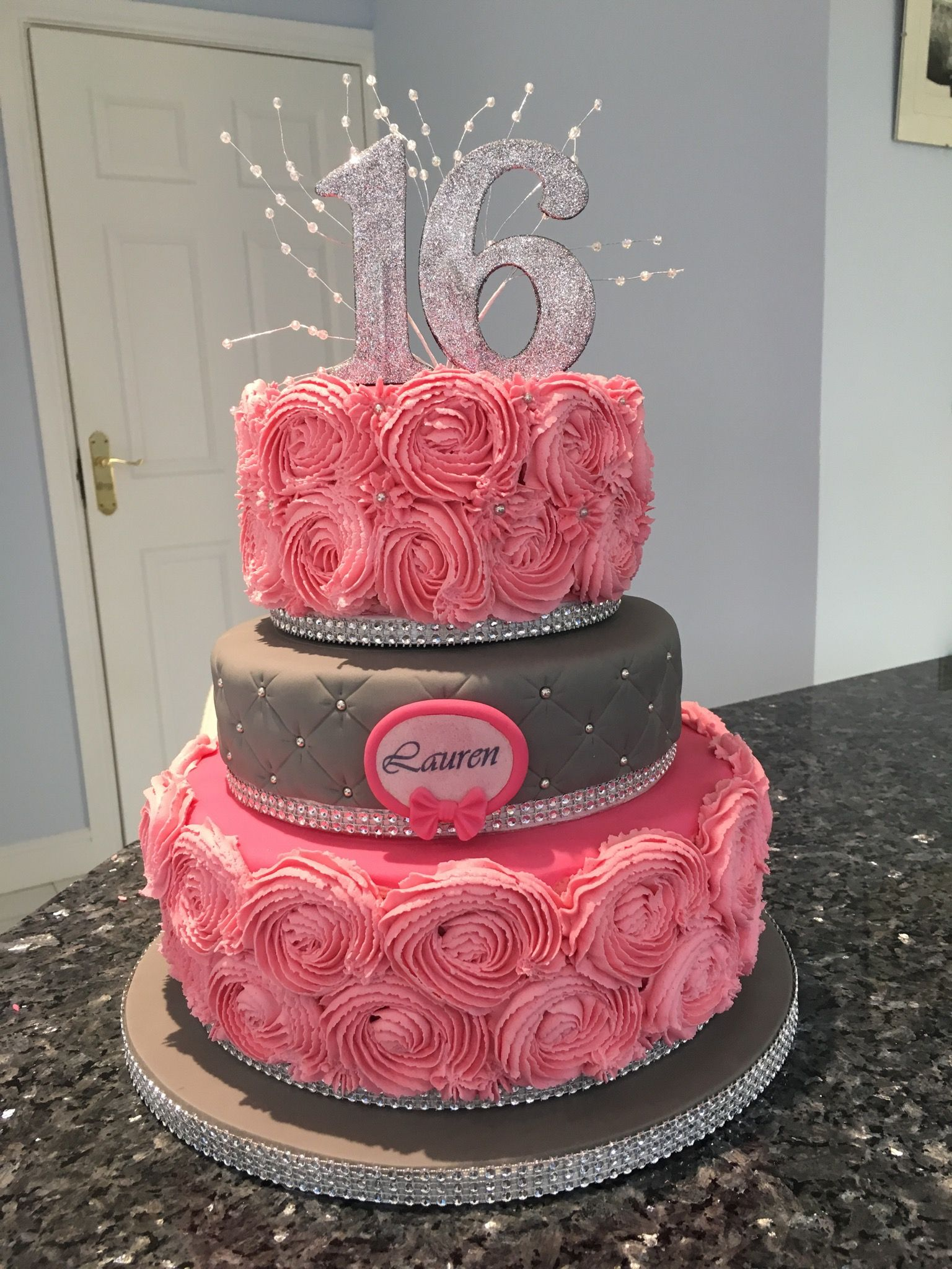 Buttercream Roses And Quilted 16th Birthday Cake My Homemade Cakes