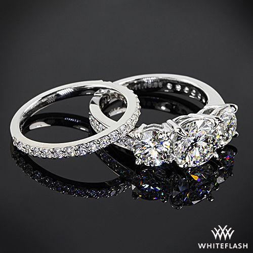 Featured here is a BREATHTAKING custom 3 stone pave Engagement Ring and a cus