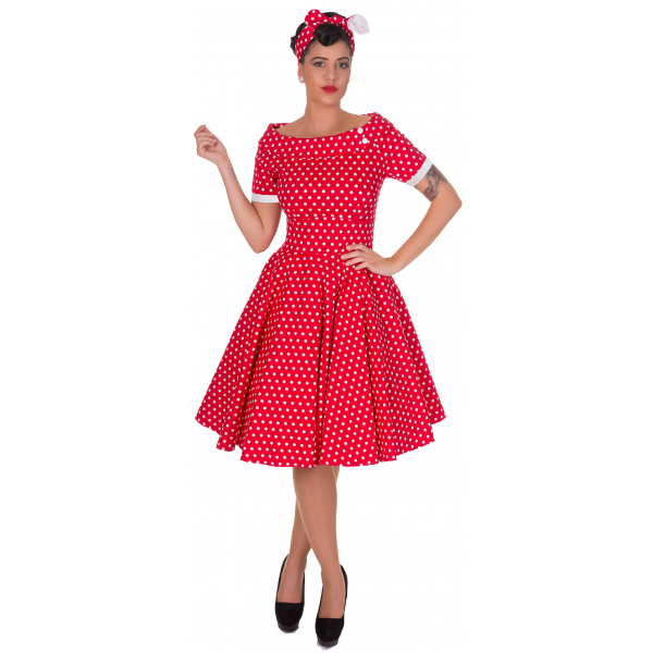 Darlene Retro Full Circle Swing Dress in Red by Dolly and Dotty