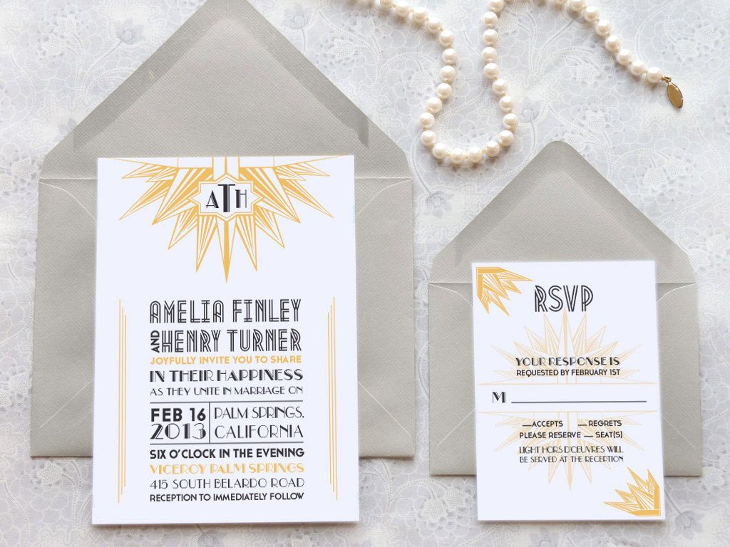 Deco Blanc Starburst Art Deco Wedding Invitations - Monogram Wedding ...