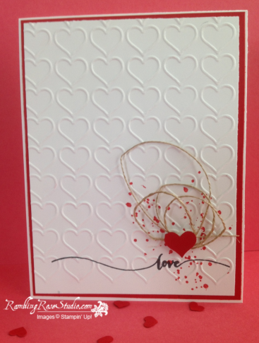 Paper: Whisper White and Real Red cardstock Ink: Memento Black and Real Red Stamps: Hello Life and Gorgeous Grunge Tools 'N Embellishments: Linen Thread, Itty Bitty Heart Punch and Happy Heart Embossing Folder