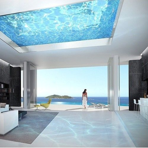 Rooftop Swimming Pool With A Glass Bottom To Show Through The Ceiling Of Beach House