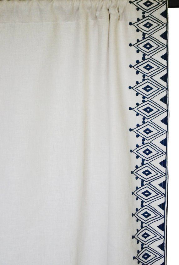 Linen Curtain Custom Curtains Moroccan Embroidery Curtain Panels