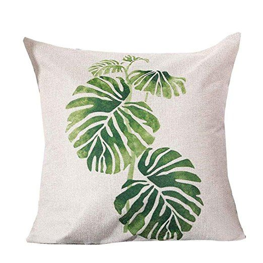 Kissenbezüge Longra Blatt und Kaktus gedruckt Hauptdekoration Kissenbezug Baumwolle Leinen Kissenbezug (A)