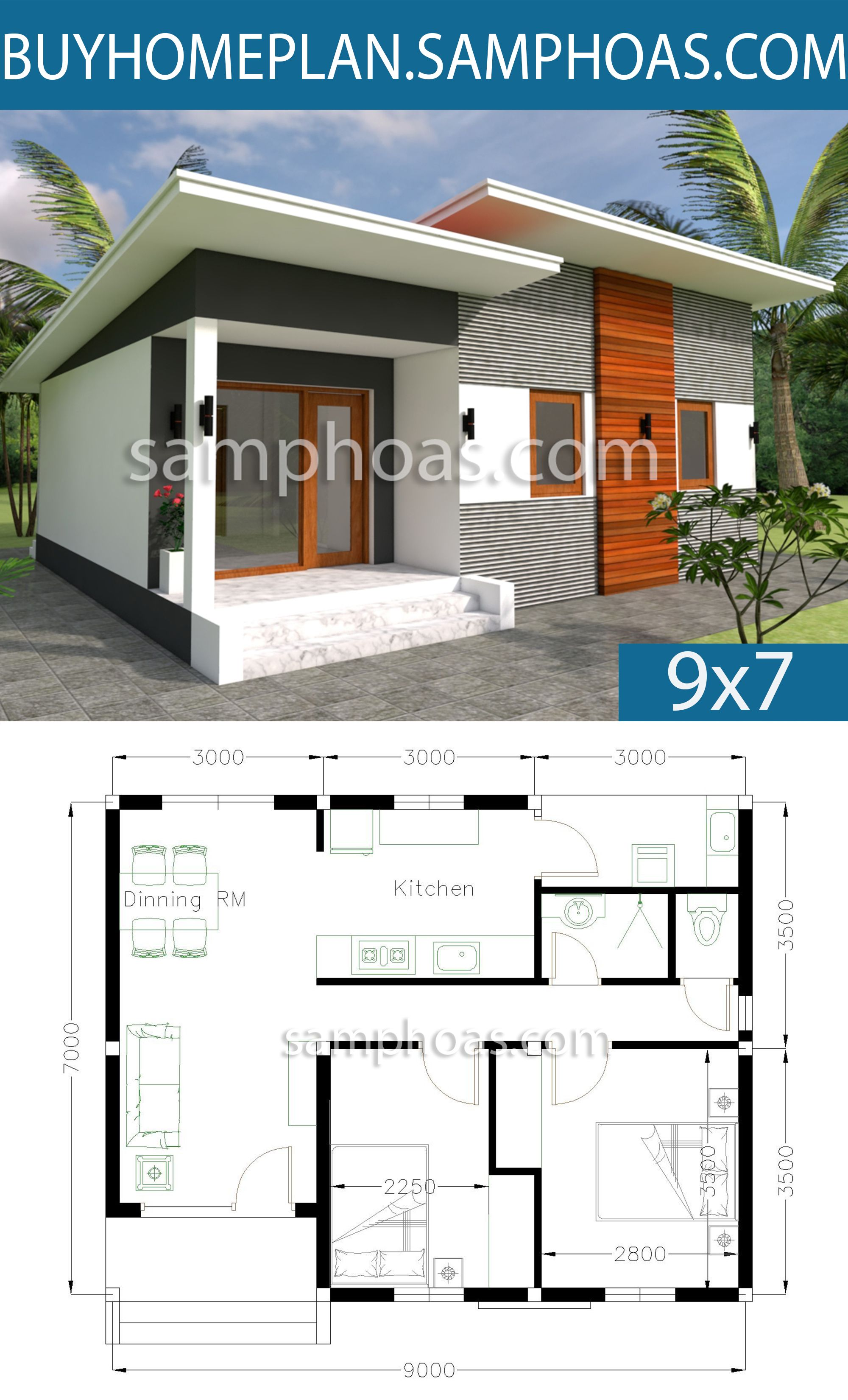 House Plans 9x7m With 2 Bedrooms House Plans Free Downloads House Roof Design House Plans Small House Plans