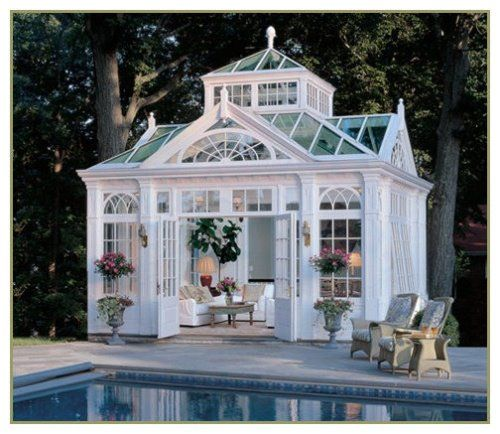 "Pool house. Found this on a blog called ""Content in a Cottage"""