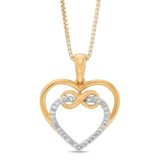 Zales 1/5 CT. T.w. Diamond Triple Heart Pendant in Sterling Silver and 10K Gold Plate gU7RfRO2