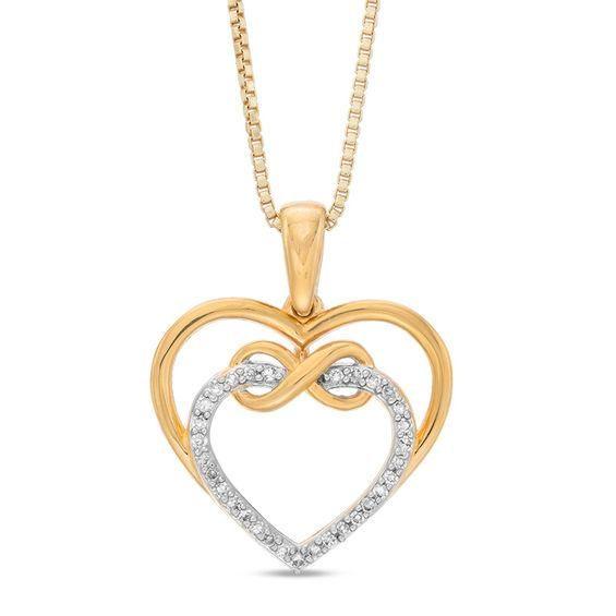 Zales 1/10 CT. T.w. Diamond Interlocking Triple Hearts Pendant in Sterling Silver and 14K Gold Plate 2Ym54wk3