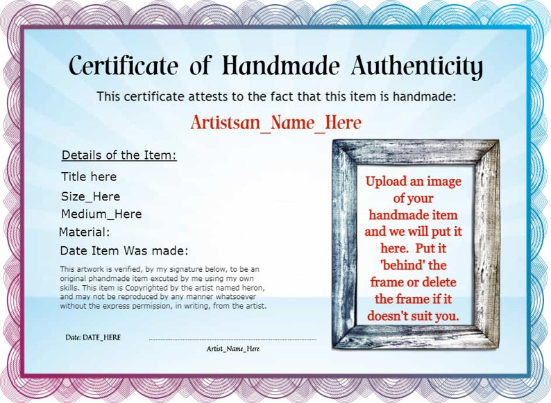 Personalized Certificate Of Handmade Authenticity Etsy Personalized Awards How To Memorize Things Etsy