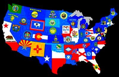 U S A States Flags Map State Flags Flag United States Flag